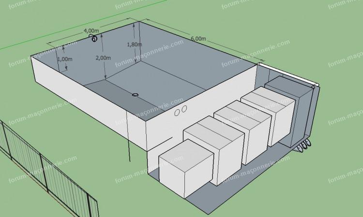 bloc à bancher bassin de jardin