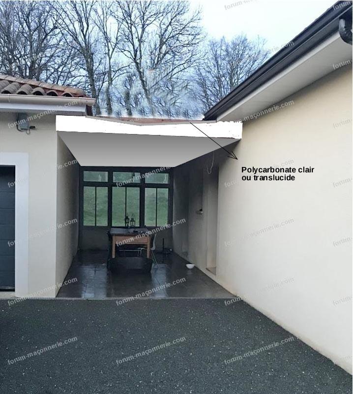 préau entre garage et maison
